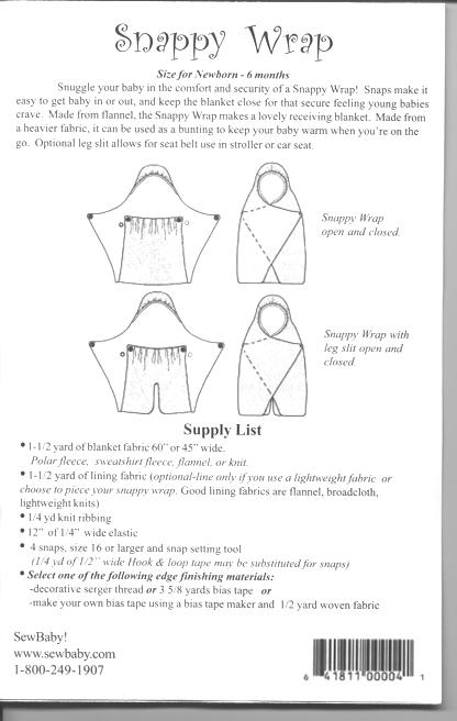 Sew Baby Snappy Wrap E Pattern