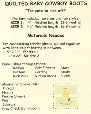 Sew Baby - Quilted Baby Cowboy Boot Pattern