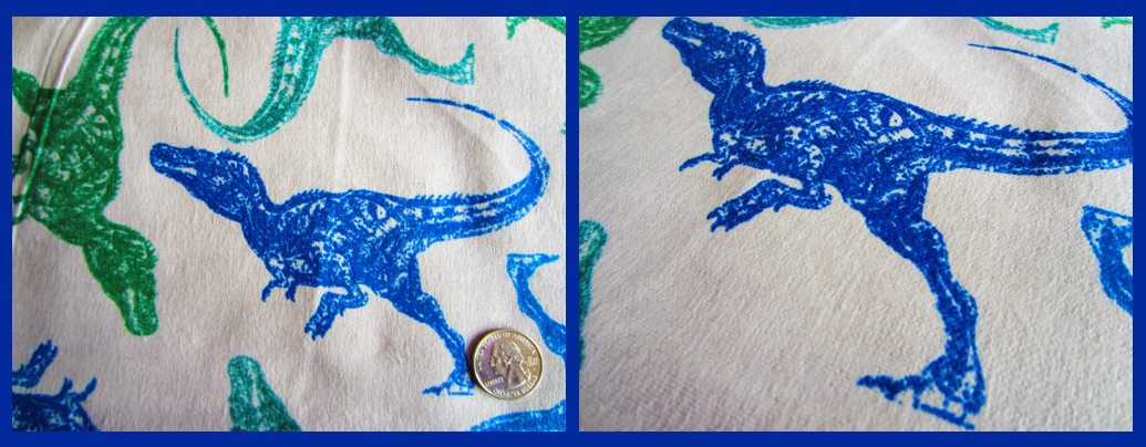 Sew baby large dinosaurs on gray flannel for Grey dinosaur fabric