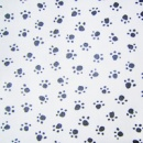 Paw Prints on White Woven Cotton