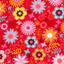 Springtime Flowers on Red Flannel