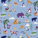 Blue Animals All Over Woven Cotton