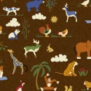 Brown Animals All Over Woven Cotton
