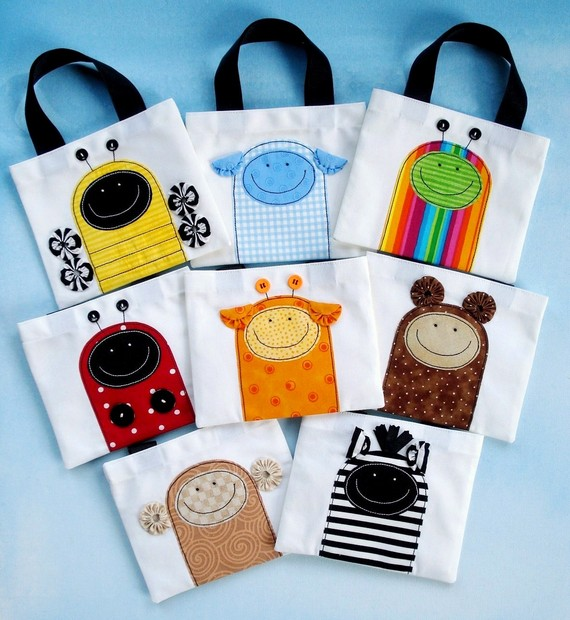 Mini Tote Bags with Critter Appliques E-pattern
