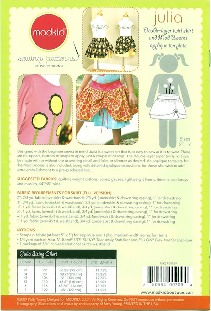 Sew Baby Julia Double Layer Twirl Skirt Mod Blooms