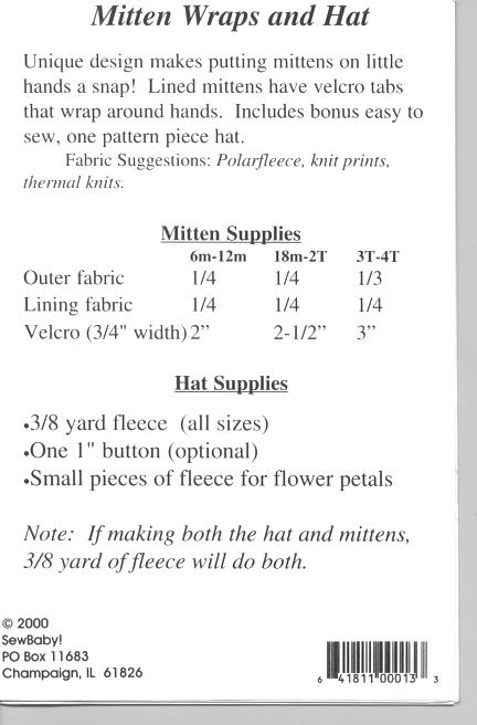 Sew Baby - Mitten Wraps and Hat pattern by Sewbaby